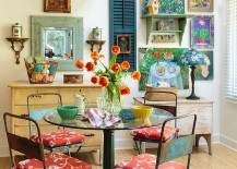 Colorful dining room filled with snazzy flea market finds [Design: Mary Ann Shaklan]