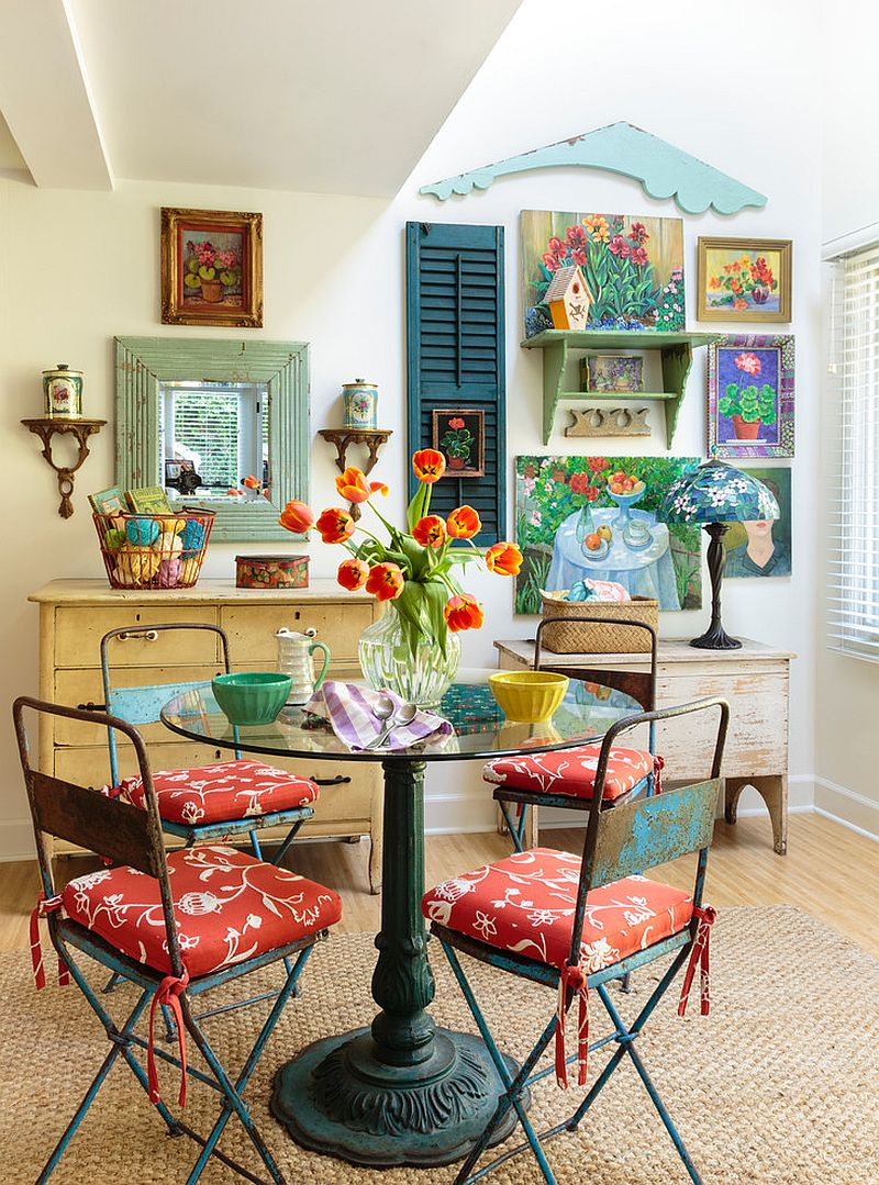 50 cool and creative shabby chic dining rooms for Cool dining rooms