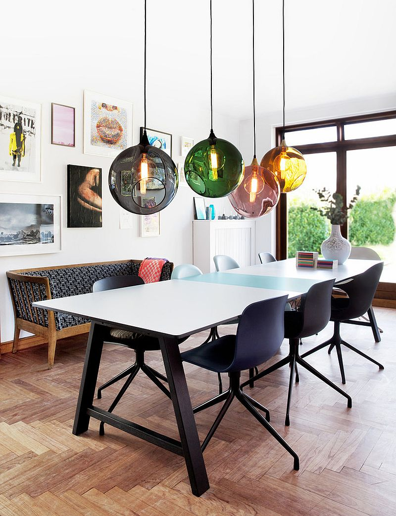 Colorful orbs above the dining table breathe life into the curated, contemporary dining room [From: UnoLiving]
