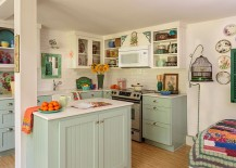 Comfy kitchen exudes a relaxed, feminine vibe