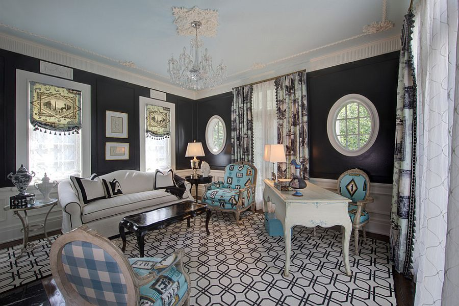 Cool blue chairs blend in with shades of gray in the room [Design: W Design Interiors]