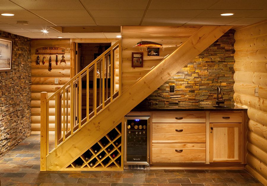 Cool wet bar and wine storage area under the staircase [Design: Holiday Kitchens]