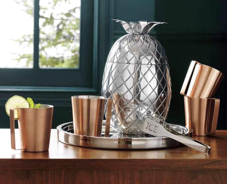 Copper mugs and pineapple ice bucket from CB2
