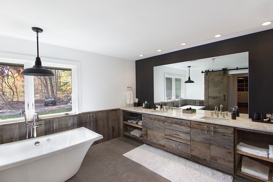 view in gallery cozy contemporary bathroom in white with the elegance of reclaimed wood from the - Modern White Bathroom Cabinets