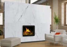 Cozy modern living room with a marble fireplace