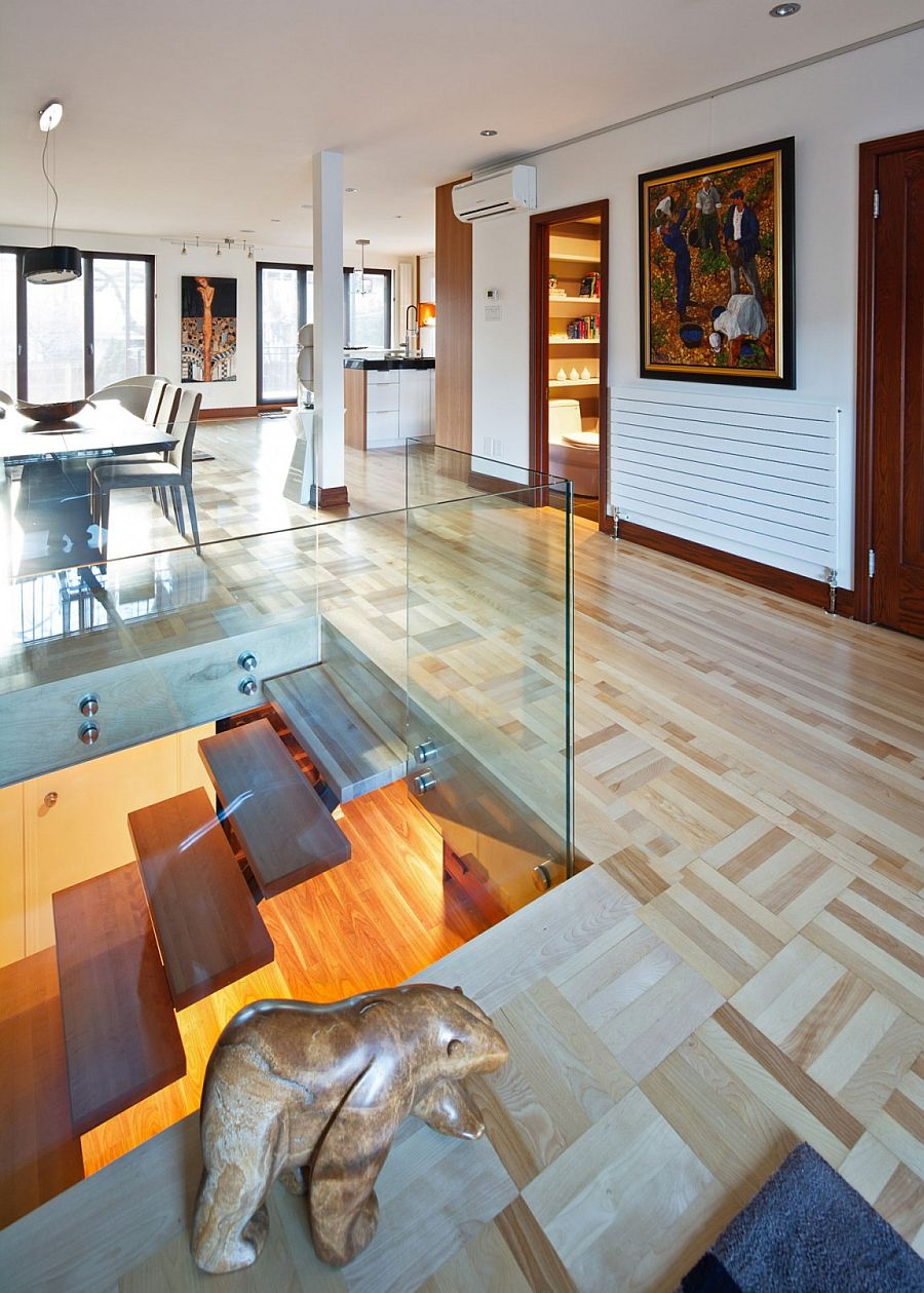 Cozy wooden flooring gives the interior an inviting ambiance
