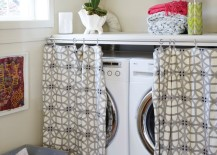 Curtain rod and curtain with a great pattern that hides unsightly laundry appliances