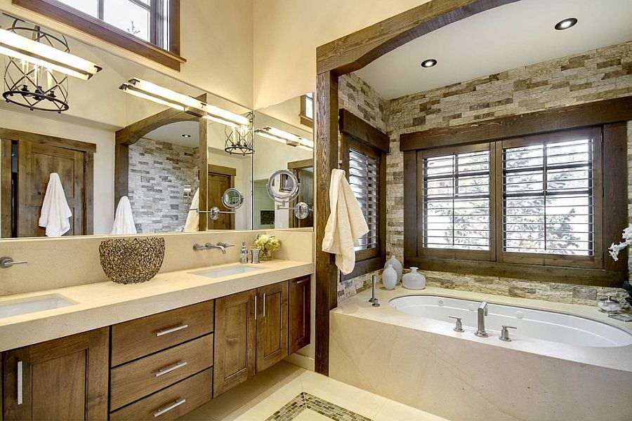 Custom bathtub niche in stone with a lovely wooden frame [Design: Slifer Designs]