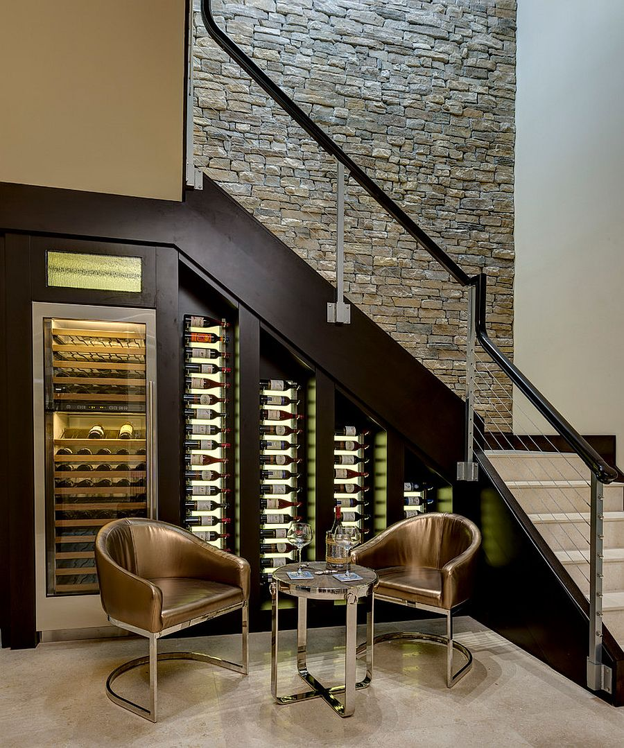 20 eye catching under stairs wine storage ideas for Dining room under stairs