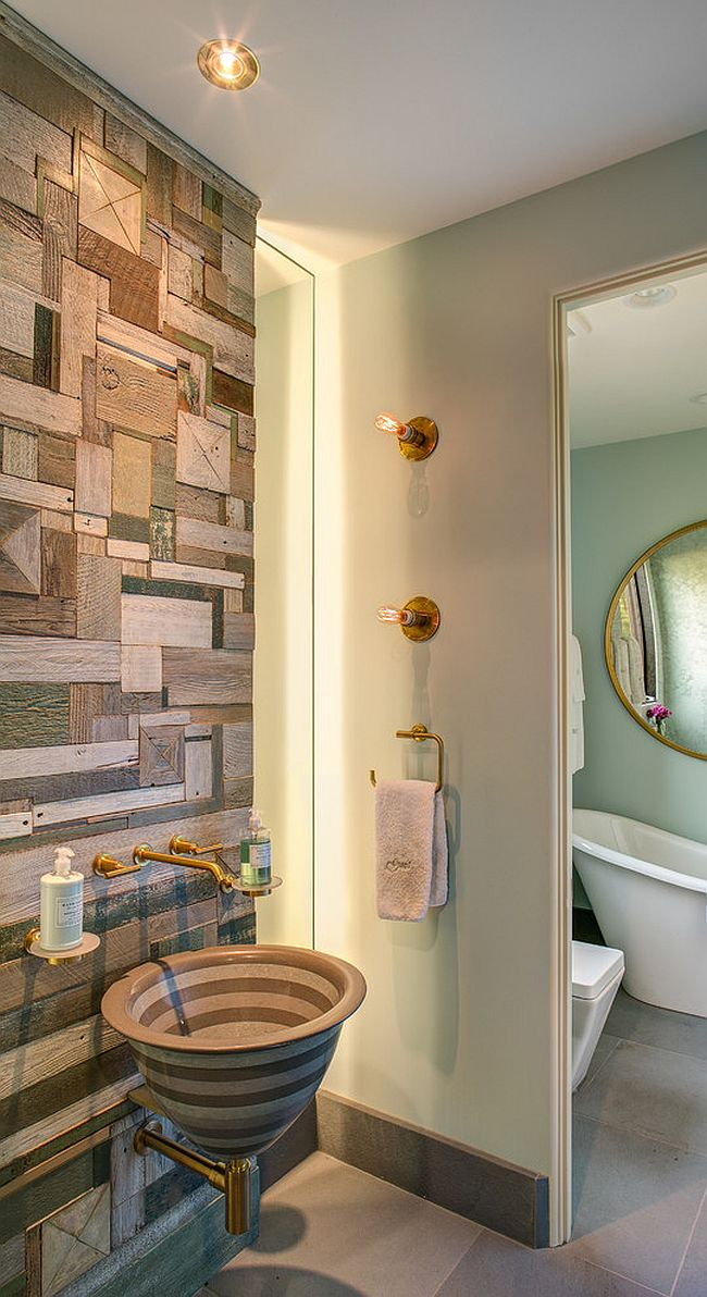 Custom crafted reclaimed wood wall doubles as an artistic addition in the contemporary bathroom [Design: Selle Valley Construction / Artist - Rob Payne]