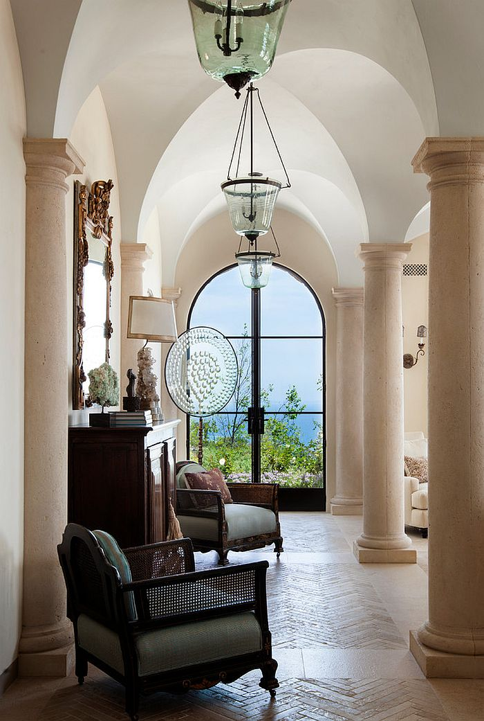 Custom fabricated Limestone columns bring that timeless Mediterranean charm