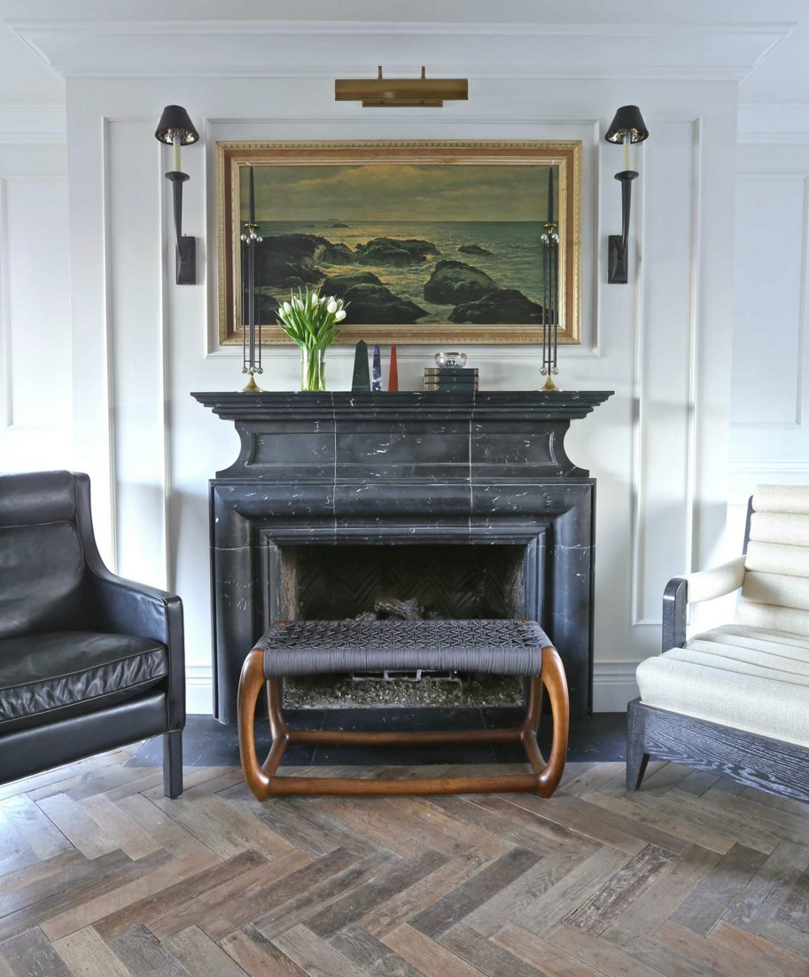 Custom marble fireplace in a traditional room