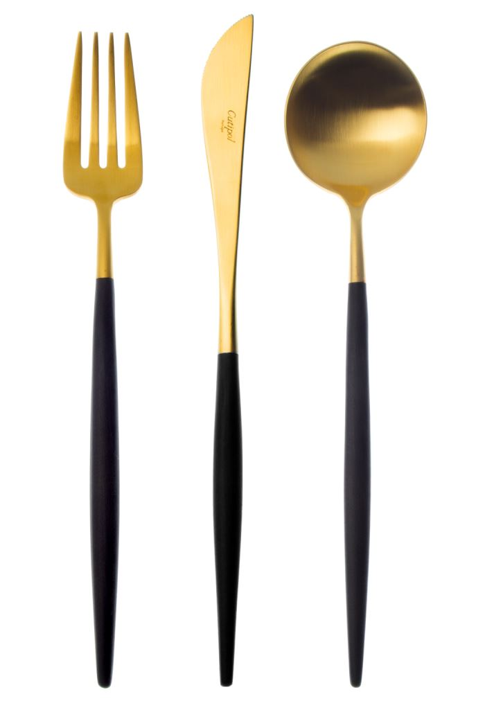 Cutipol gold and black flatware