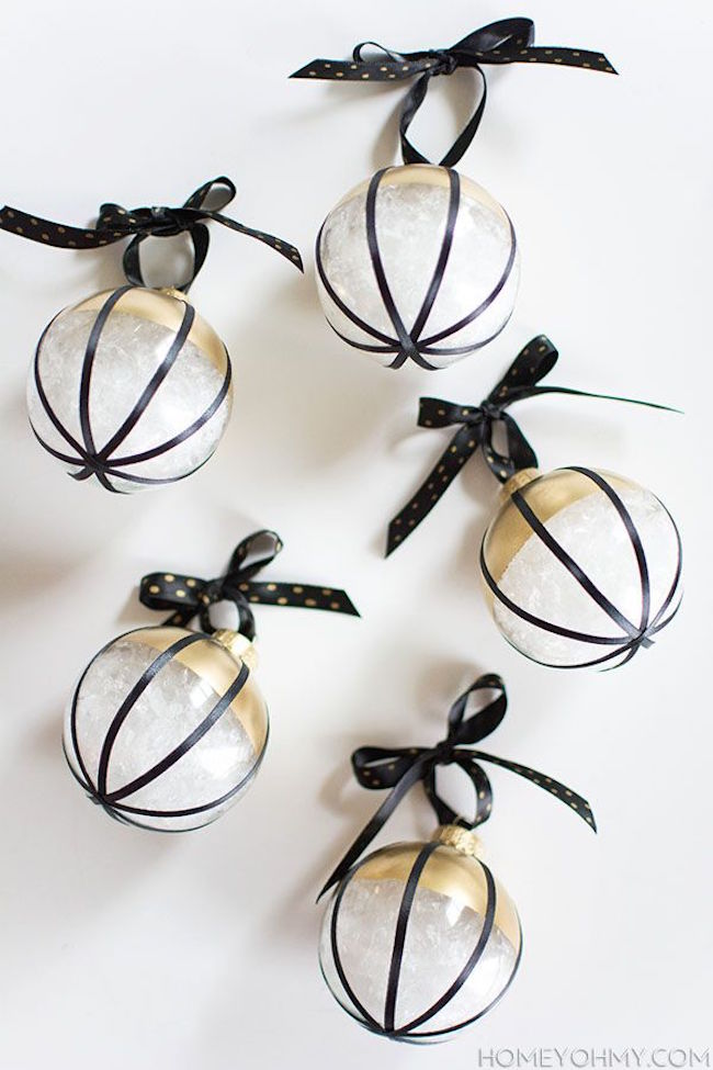 DIY black, white, and gold Christmas ornaments