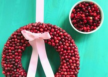 DIY cranberry wreath from a Beautiful Mess