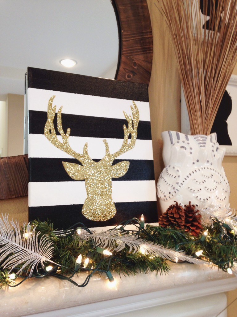 DIY gold glitter deer head canvas