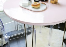 DIY pink table from A Beautiful Mess 217x155 How to Add the Color Pink to a Modern Room