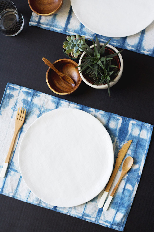 Shibori tablecloth from Bind and Fold DIY shibori placemats