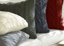 DIY sweater pillows in different colors