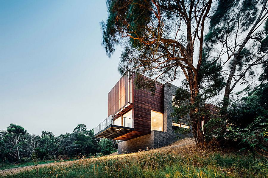 Dawes Road contemporary house in Australia Spotted Gum Cladding and Concrete Envelope Nifty Aussie Home