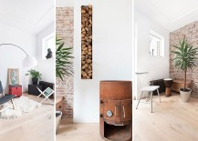 Decor, exposed brick walls and stacked firewood bring contrasting textures to the smart, revamped Dutch home
