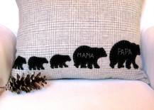 Decorative winter pillow with family of bears 217x155 8 Rustic Accent Pillow Ideas to Add Some Coziness This Winter