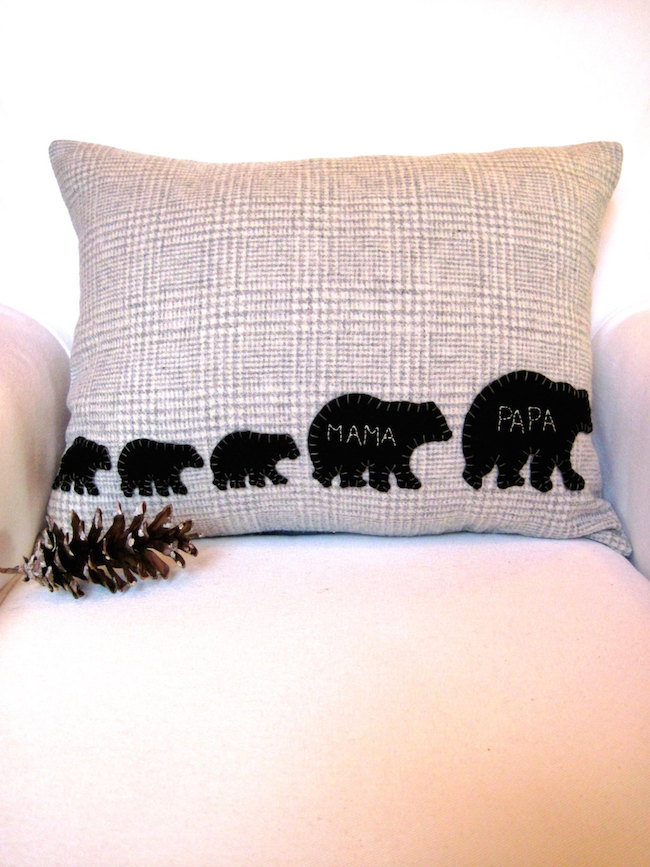 Decorative winter pillow with family of bears