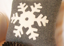 Decorative winter pillow with snowflake design