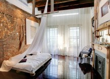 Delicate sheer curtains contrast the rough exposed brick walls perfectly 217x155 50 Delightful and Cozy Bedrooms with Brick Walls