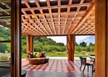 Design of the pergola extends the living area into the deck outside