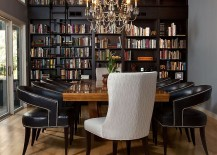 Dining room and home library rolled into one with classic flair