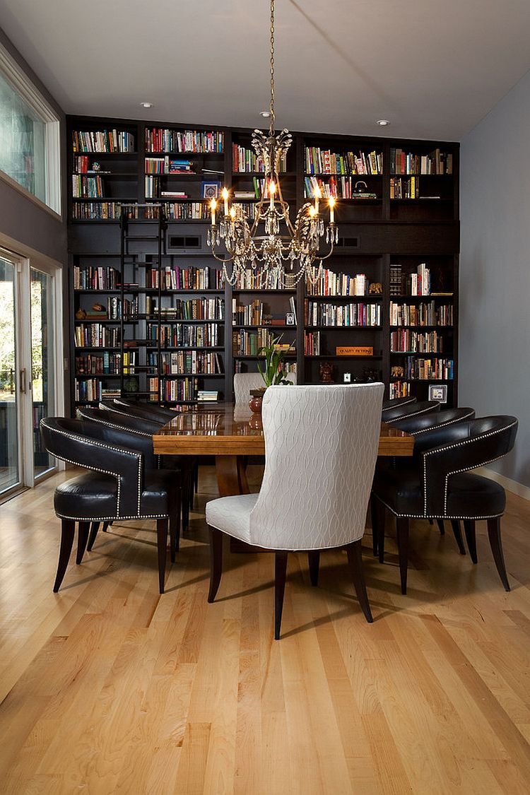 Dining room and home library rolled into one with classic flair [Design: Tongue & Groove]