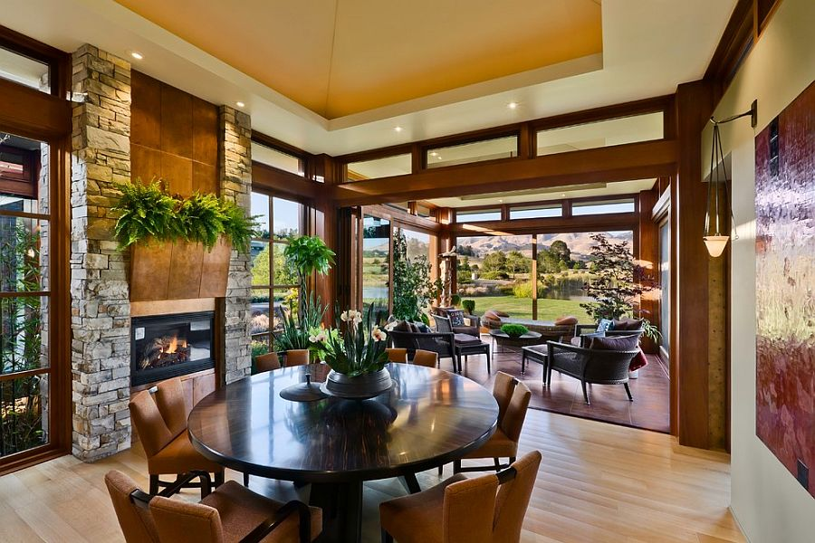 Dining room enjoys wonderful view of the country scenery