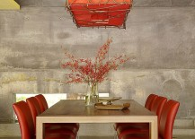 Dining room lighting has an understated oriental elegance