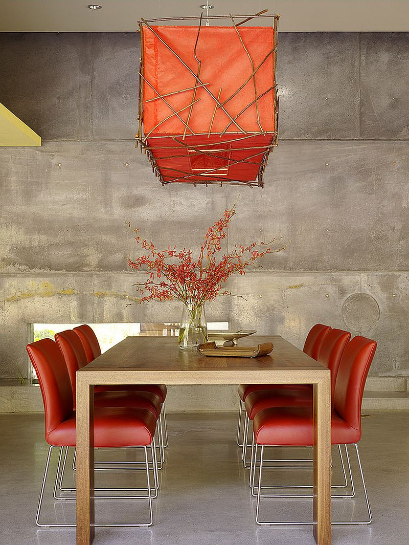 Dining room lighting has an understated oriental elegance [Design: Cheng Design]