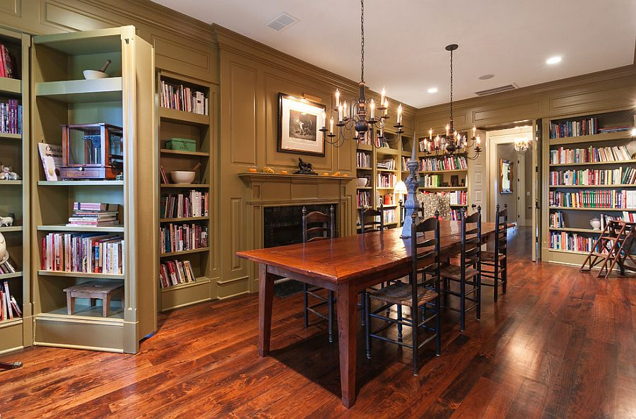 Dining room with hidden door behind bookshelf! [Design: Bill Huey + Associates]