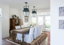 Dining table brings shabby style to the relaxing dining room