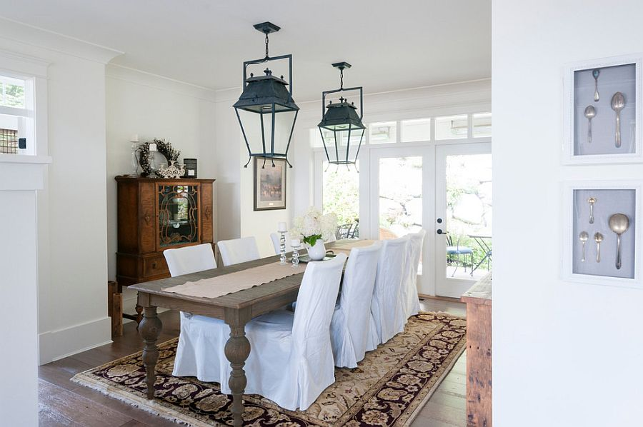 Dining table brings shabby style to the relaxing dining room [Design: Jil Sonia Interiors]