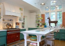 Do not shun away from colorful cabinets in the shabby chic kitchen [Design: Alison Kandler Interior Design]
