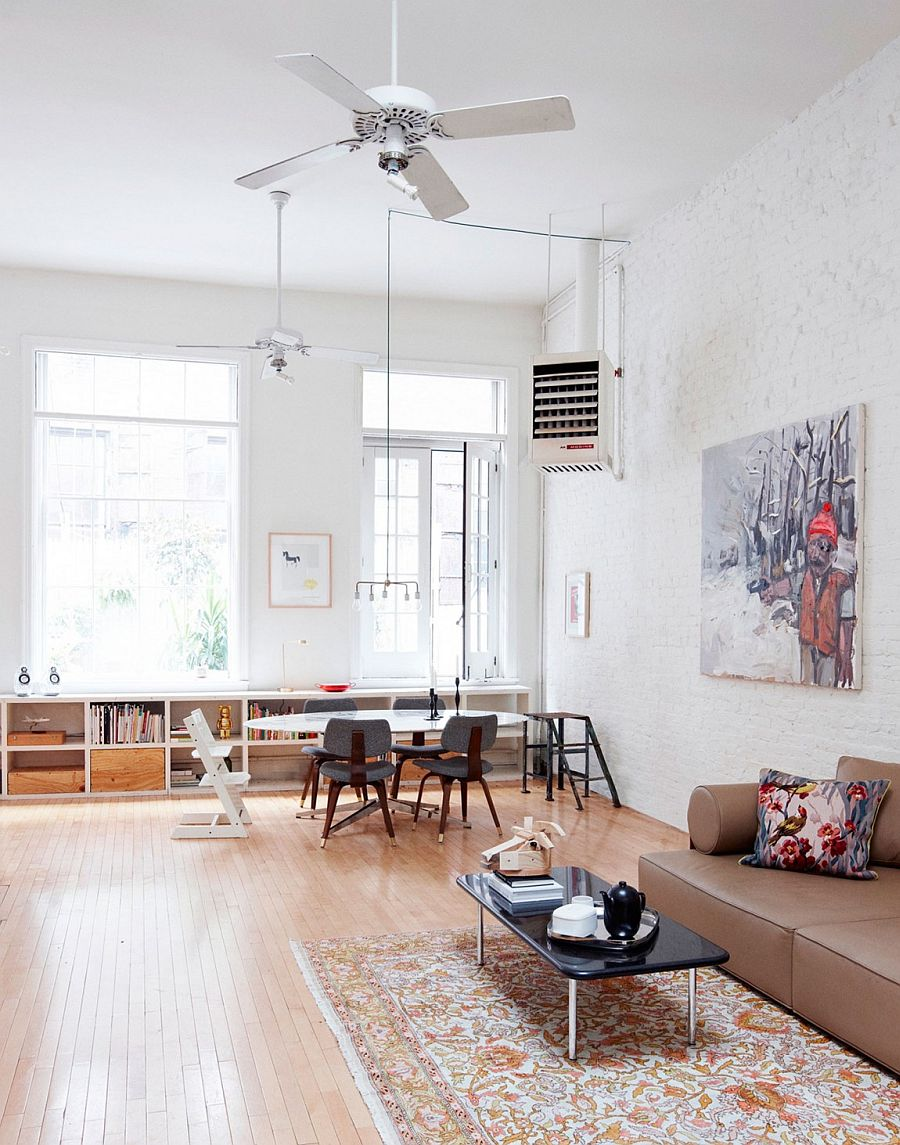 Double height dining space inside the breezy NYC home