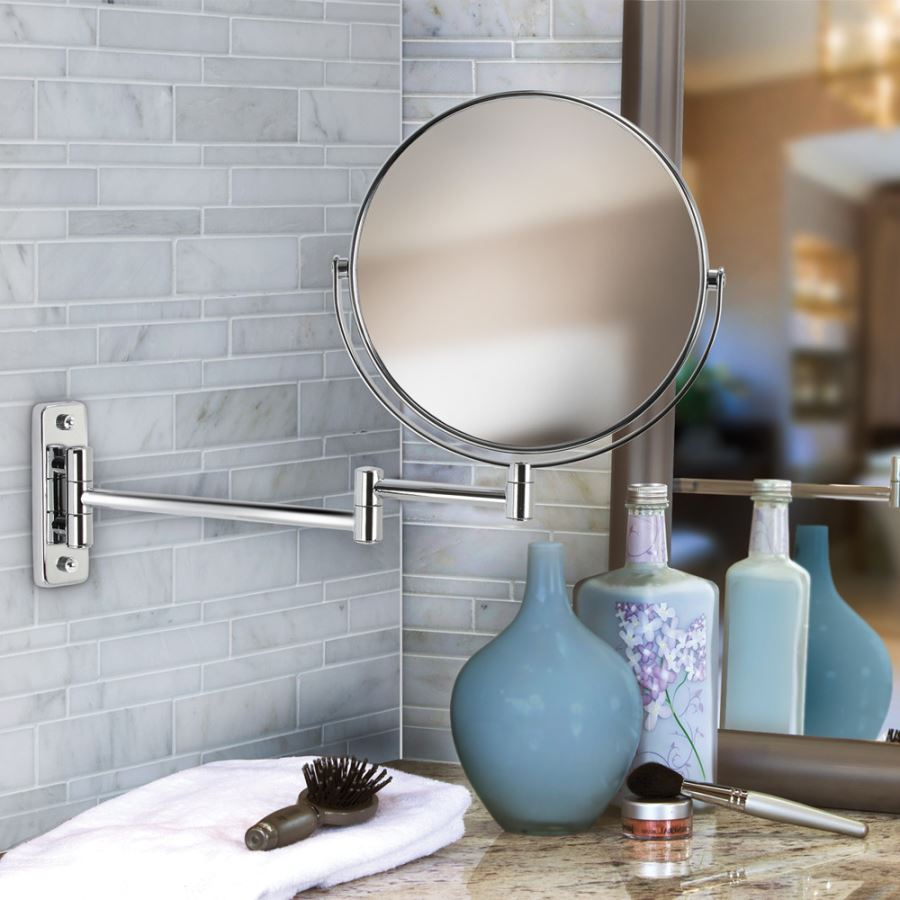 View In Gallery Double Sided Chrome Bathroom Mirror