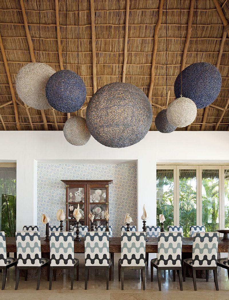 ... Dramatic Dining Room Lighting With An Organic Vibe! [Design: Rizzoli  New York /