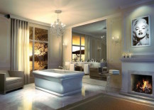 Drop-in freestanding tub with fireplace and old Hollywood theme