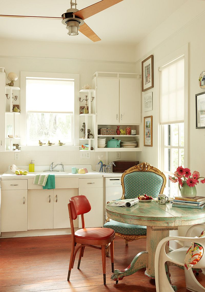 Eclectic kitchen with a splash of shabby chic panache [From: Joanne Palmisano - Salvage Secrets]