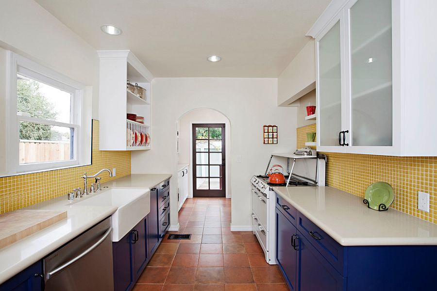 View In Gallery Eclectic Kitchen With Splashes Of Blue And Yellow With Terracotta  Tile Floor [Design: Caisson