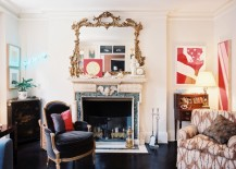 Eclectic living room with a traditional marble fireplace