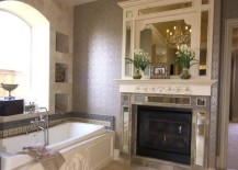 Elegant fireplace next to tub 217x155 16 Fireside Bathtubs for a Cozy and Luxurious Soak