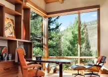 Elegant home office design with mountain views
