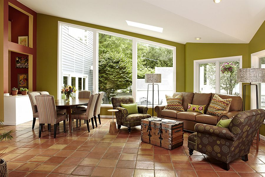 Elegant Use Of Terracotta Tiles With Tumbled Edges For The Modern Living Room Design