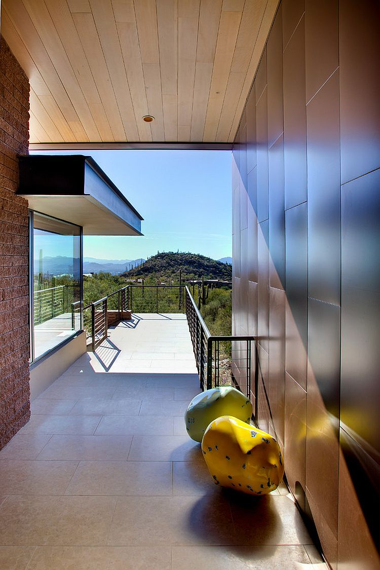 Entry bridge of the Arizona home overlooking the desert landscape
